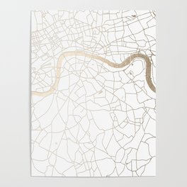 White on Gold London Street Map Poster