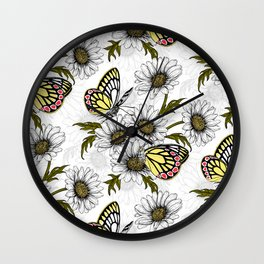 Jezebel butterflies and daisy flowers on white Wall Clock