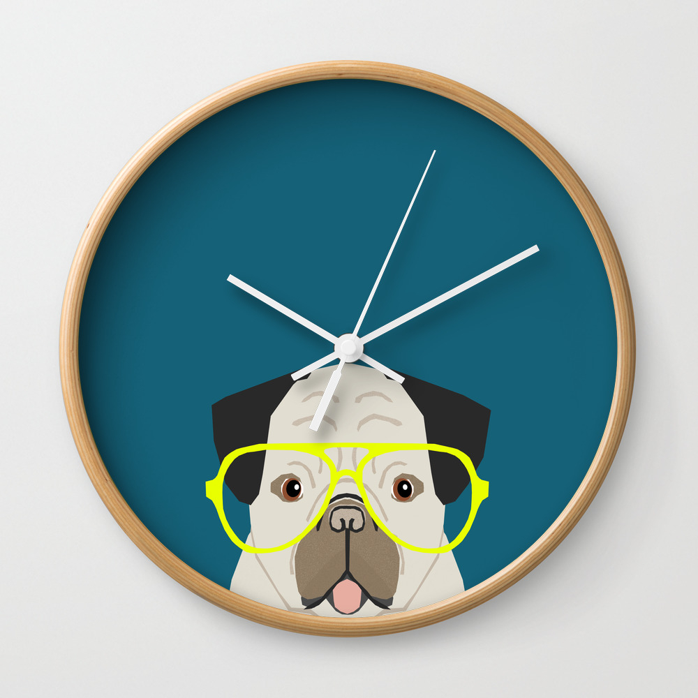 Emerson - Pug With Neon Hipster Glasses, Cute Retr… Wall Clock by Petfriendly CLK3024134