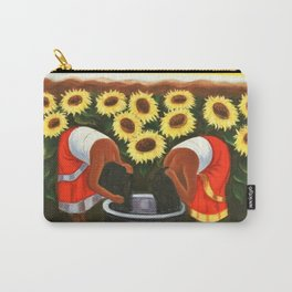 Two women in sunflower fields by Diego Rivera Carry-All Pouch