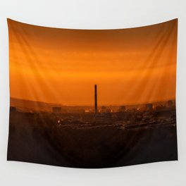 Sunset over the city Wall Tapestry