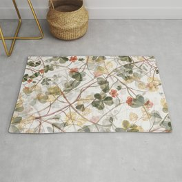 Abstract green pink gold clover leaves illustration Rug