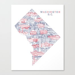 Washington DC Landmark Map Art (Nationals) Canvas Print