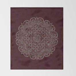 Royal Burgundy Rose Gold Marble Mandala Throw Blanket