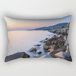 Sunset near the old  lighthouse of Trieste Rectangular Pillow