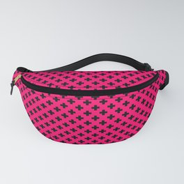 Small Black Crosses on Hot Neon Pink Fanny Pack