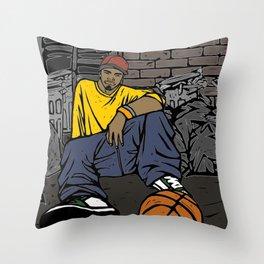 Street basketball player Throw Pillow