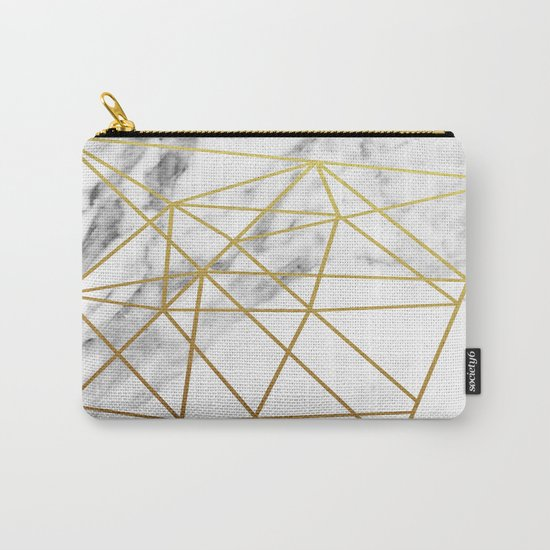 Gold geometric marble Carry-All Pouch