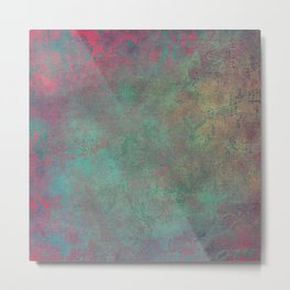 Grunge Garden Canvas Texture: Pink and Teal Baroque Metal Print