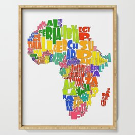 African Continent Cloud Map Serving Tray