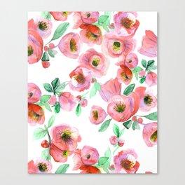 Floral Print Pink Chaenomeles Canvas Print