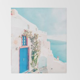 Santorini Greece Cozy blush travel photography in hd. Throw Blanket