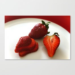 Sliced Strawberries Canvas Print