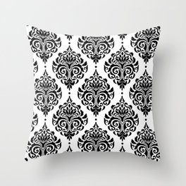 Black and White Damask Throw Pillow