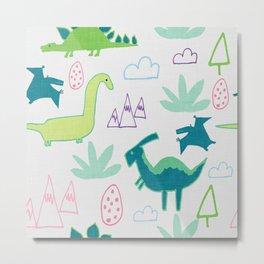 Dino Fun land Grey Metal Print