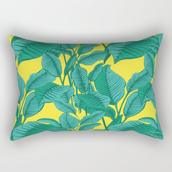 Exotic Tropical Palm Leaf Print - Lime Rectangular Pillow