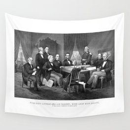 President Lincoln And His Cabinet, With Lieut. Genl. Scott Wall Tapestry