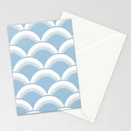 Japanese Fan Pattern Pale Blue Stationery Cards