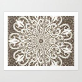 off white sepia swirl mandala Art Print
