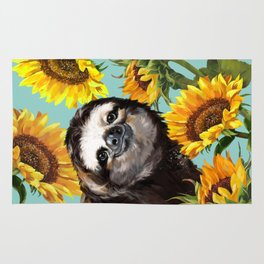 Sloth with Sunflowers Rug