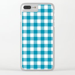 Blue vichy check Clear iPhone Case