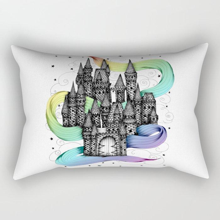 Super Magic Rainbow Dream Castle Rectangular Pillow