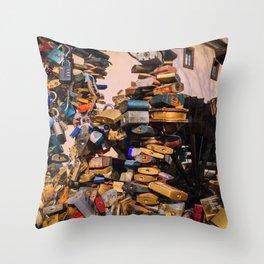 Prague LoveLocks Throw Pillow