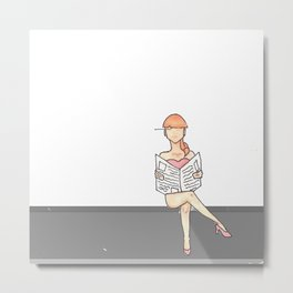 Girl Reading the Paper Metal Print