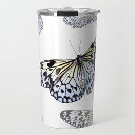 DESIGN OF FLUTTERING BLACK & WHITE BUTTERFLIES  ART Travel Mug