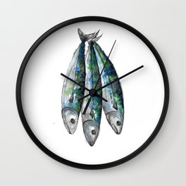 three Mackerel Wall Clock