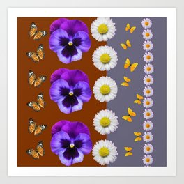 BROWN & PURPLE PANSY WHITE DAISY BUTTERFLIES SPRING Art Print