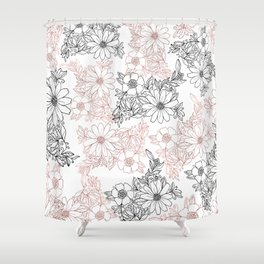 Hand drawn black faux rose gold floral Shower Curtain