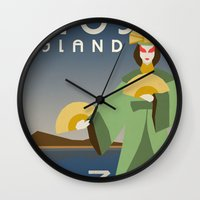 travel poster Wall Clocks featuring Kyoshi Island Travel Poster by HenryConradTaylor
