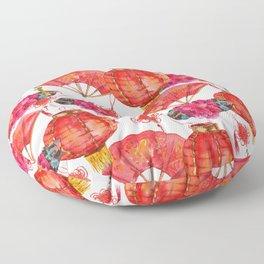 Festive Oriental Lantern, Hand fan, Lotus flower and ornaments bring good fortune Floor Pillow