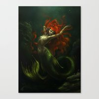 the little mermaid Canvas Prints featuring Little Mermaid by Caroline Jamhour