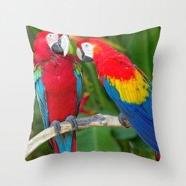 Two Splendid Spectacular Colorful Ara Parrots Flirting Close Up Ultra HD Throw Pillow