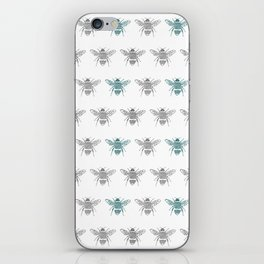 Bee pattern in grey and green iPhone Skin