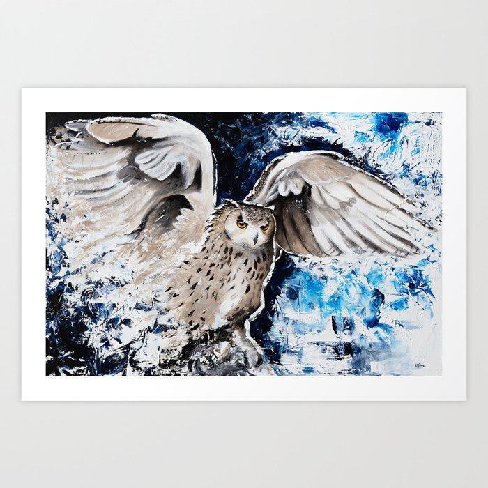 "Owl - Animal - ""I own the night..."" by LiliFlore Art Print"