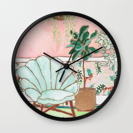 Art Deco Velvet Mint Shell Chair in Jungle Room with Tigers Wall Clock