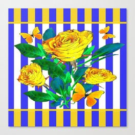 YELLOW SPRING ROSES & BUTTERFLIES WITH LILAC STRIPES Canvas Print