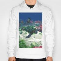 sea turtle Hoodies featuring Sea Turtle by Simone Gatterwe