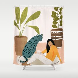 Girl and leopard Shower Curtain