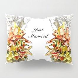 The bride had a orange lily bouquet Pillow Sham