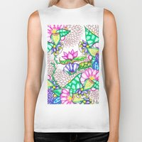 preppy Biker Tanks featuring Bright modern botanical preppy floral watercolor by Girly Trend
