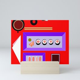 A Sushi Dinner with Tea Mini Art Print