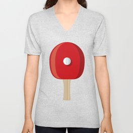 Table Tennis Racket and Ball Unisex V-Neck