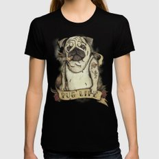 Pug Life MEDIUM Womens Fitted Tee Black