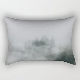 Mysterious moody foggy Forest - Landscape Photography Rectangular Pillow