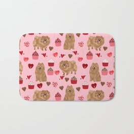 Pomeranian valentines day love hearts cupcakes pattern cute puppy dog breeds by pet friendly Bath Mat