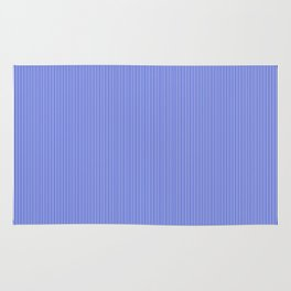 Cobalt Blue and White Vertical Thin Pinstripe Pattern Rug